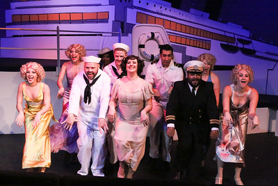 """Sarah Gene Dowling as Bonnie (front, center) and the company sing """"Let's Step Out,"""" in ANYTHING GOES, New Line Theatre, 2018. Photo credit: Jill Ritter Lindberg."""