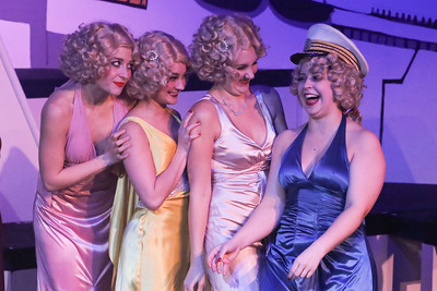 Reno's Angels, Larissa White, Alyssa Wolf, Michelle Sauer, and Sara Rae Womack, in ANYTHING GOES, New Line Theatre, 2018. Photo credit: Jill Ritter Lindberg.