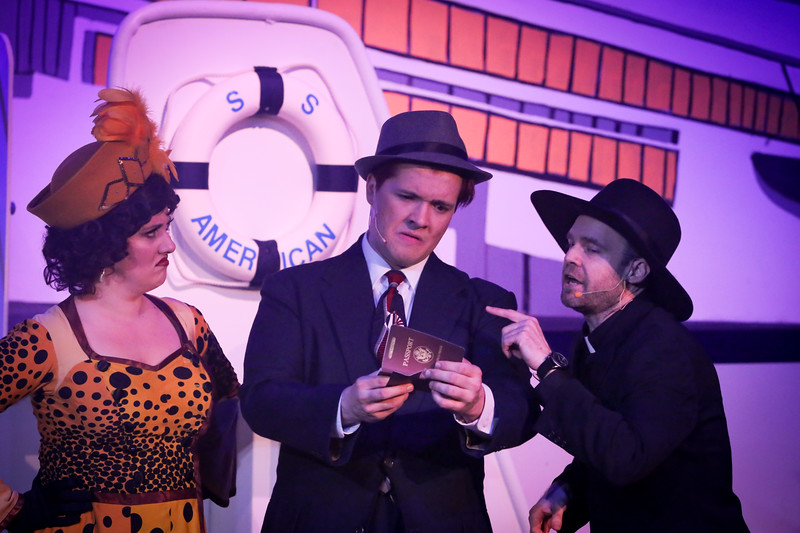 Sarah Gene Dowling as Bonnie, Evan Fornachon as Billy, and Aaron Allen as Mooney, in ANYTHING GOES, New Line Theatre, 2018. Photo credit: Jill Ritter Lindberg.