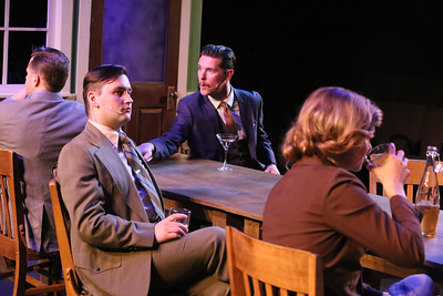"(l-r) Jeffrey M. Wright, Sean Michael, Ryan Scott Foizey, and Larissa White, singing ""What I Tell Myself,"" in New Line Theatre's ATOMIC. Photo credit: Jill Ritter Lindberg."