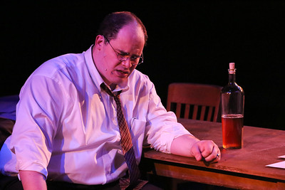 """Zachary Allen Farmer as Leo Szilard, singing """"Where is Home?"""",  in New Line Theatre's ATOMIC. Photo credit: Jill Ritter Lindberg."""