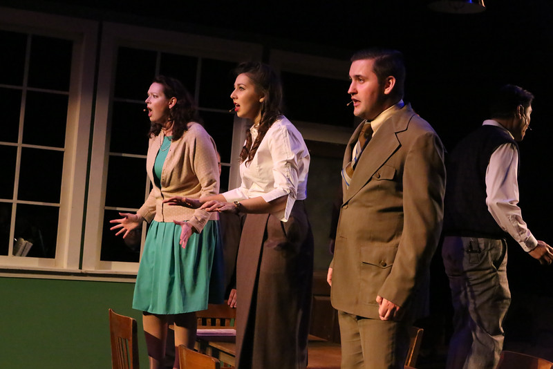 "Ann Hier, Victoria Valentine, and Sean Michael, singing ""The Atomic Bomb is Here,""  in New Line Theatre's ATOMIC. Photo credit: Jill Ritter Lindberg."