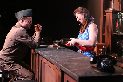 Jeffrey M. Wright (as Paul Tibbets) and Victoria Valentine, in New Line Theatre's ATOMIC. Photo credit: Jill Ritter Lindberg.