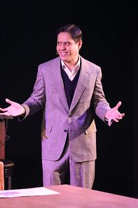Reynaldo Arceno as Enrico Fermi, in New Line Theatre's ATOMIC. Photo credit: Jill Ritter Lindberg.