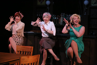 """Larissa White, Victoria Valentine, and Ann Hier, singing """"Holes in the Donuts,""""  in New Line Theatre's ATOMIC. Photo credit: Jill Ritter Lindberg."""