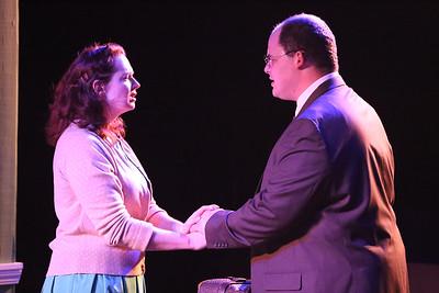 "Ann Hier as Trude Weiss and Zachary Allen Farmer as Leo Szilard, singing ""Little Fire,""  in New Line Theatre's ATOMIC. Photo credit: Jill Ritter Lindberg."