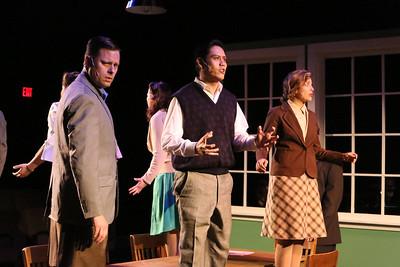 "Jeffrey M. Wright, Reynaldo Arceno, and Larissa White, singing ""The Atomic Bomb is Here,""  in New Line Theatre's ATOMIC. Photo credit: Jill Ritter Lindberg."