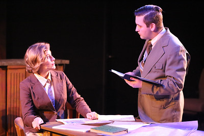 Larissa White as Leona Woods and Sean Michael as Edward Teller in New Line Theatre's ATOMIC. Photo credit: Jill Ritter Lindberg.