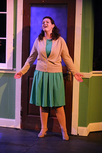 """Ann Hier as Trude Weiss, singing """"Headlights,"""" in New Line Theatre's ATOMIC. Photo credit: Jill Ritter Lindberg."""