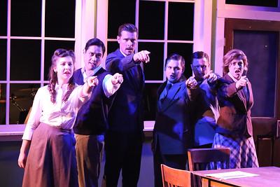 "(l-r) Victoria Valentine, Reynaldo Arceno, Ryan Scott Foizey, Sean Michael, Jeffrey M. Wright, and Larssia White, singing ""Little Fire,""  in New Line Theatre's ATOMIC. Photo credit: Jill Ritter Lindberg."