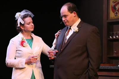 Ann Hier as Trude Weiss and Zachary Allen Farmer as Leo Szilard, in New Line Theatre's ATOMIC. Photo credit: Jill Ritter Lindberg.