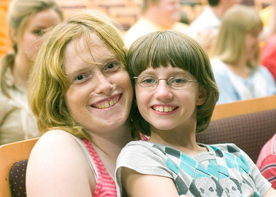 "Ashley Stanbery (left) and Shaelyn West prior to a rehearsal of the play ""Annie Jr."" at Sycamore High School on Thursday, September 16, 2010."