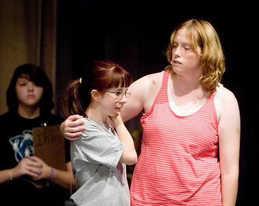 "Jennifer Busby (left) as Annie and Ashley Stanbery as Grace rehearse the play ""Annie Jr."" at Sycamore High School on Thursday, September 16, 2010."