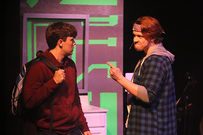Jeremy (Jayde Mitchell) and Rich (Evan Fornachon) in BE MORE CHILL, New Line Theatre, 2019. Photo credit: Jill Ritter Lindberg.
