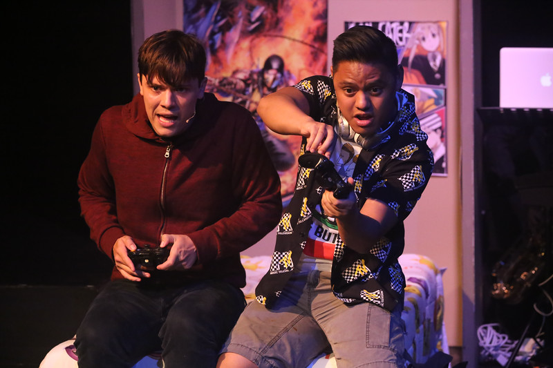 """Jeremy (Jayde Mitchell) and Michael (Kevin Corpuz) singing """"Two-Player Game"""" in BE MORE CHILL, New Line Theatre, 2019. Photo credit: Jill Ritter Lindberg."""