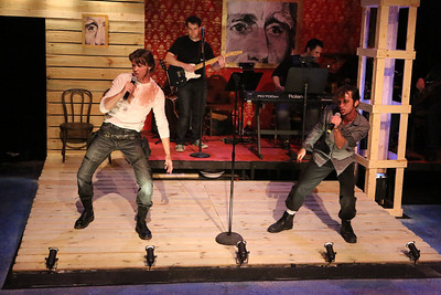 """John Sparger as Andrew Jackson and Todd Micali sing """"Rock Star,"""" in New Line Theatre's """"Bloody Bloody Andrew Jackson,"""" 2012. Photo credit: Jill Ritter Lindberg."""