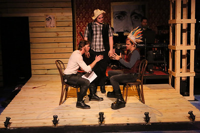 """John Sparger as Andrew Jackson, negotiating with Chief Keokuk (Brian Claussen), and a messenger (Zachary Allen Farmer) in New Line Theatre's """"Bloody Bloody Andrew Jackson,"""" 2012. Photo credit: Jill Ritter Lindberg."""