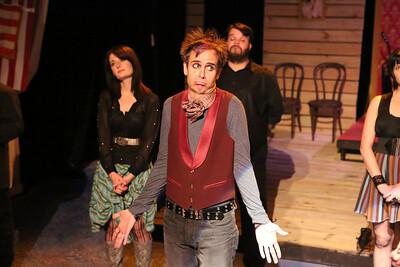 "Brian Claussen as Martin Van Buren (foreground) in New Line Theatre's ""Bloody Bloody Andrew Jackson,"" 2012. Photo credit: Jill Ritter Lindberg."