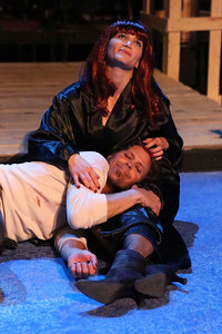 """John Sparger as Andrew Jackson, returning to his wife Rachel (Taylor Pietz), after the Battle of New Orleans in New Line Theatre's """"Bloody Bloody Andrew Jackson,"""" 2012. Photo credit: Jill Ritter Lindberg."""