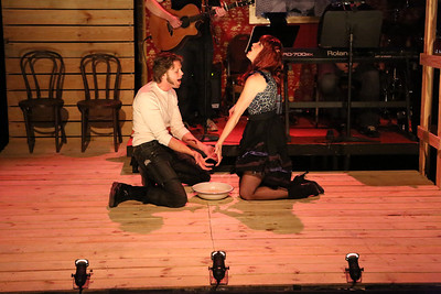 """John Sparger as Andrew Jackson, and his wife Rachel (Taylor Pietz), singing """"Illness as Metaphor"""" in New Line Theatre's """"Bloody Bloody Andrew Jackson,"""" 2012. Photo credit: Jill Ritter Lindberg."""