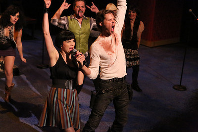 """John Sparger as Andrew Jackson (center) campaigns for President, in New Line Theatre's """"Bloody Bloody Andrew Jackson,"""" 2012. Photo credit: Jill Ritter Lindberg."""