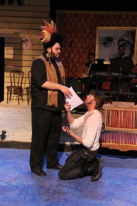 """Nicholas Kelly as Chief Black Fox and John Sparger as Andrew Jackson in New Line Theatre's """"Bloody Bloody Andrew Jackson,"""" 2012. Photo credit: Jill Ritter Lindberg."""