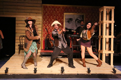 """The Frontiersmen (Stephanie Brown, Todd Micali, Sarah Porter) rally for Andrew Jackson, in New Line Theatre's """"Bloody Bloody Andrew Jackson,"""" 2012. Photo credit: Jill Ritter Lindberg."""