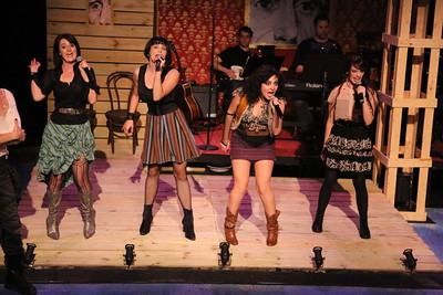 """Stephanie Brown, Taylor Pietz, Sarah Porter, and Chrissy Young sing """"The Corrupt Bargain,"""" in New Line Theatre's """"Bloody Bloody Andrew Jackson,"""" 2012. Photo credit: Jill Ritter Lindberg."""