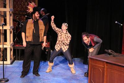 "Nicholas Kelly as Chief Black Fox, Stephanie Brown as Lyncoya, and Brian Claussen as Martin Van Buren, in New Line Theatre's ""Bloody Bloody Andrew Jackson,"" 2012. Photo credit: Jill Ritter Lindberg."