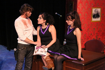 """John Sparger as Andrew Jackson, with his Oval Office cheerleaders (Sarah Porter, Chrissy Young) in New Line Theatre's """"Bloody Bloody Andrew Jackson,"""" 2012. Photo credit: Jill Ritter Lindberg."""