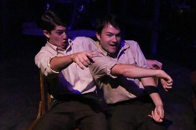 "Matt Pentecost and Brendan Ochs as Clyde and Buck Barrow, singing ""When I Drive,"" in New Line Theatre's BONNIE & CLYDE, 2014. Photo credit: Jill Ritter Lindberg."