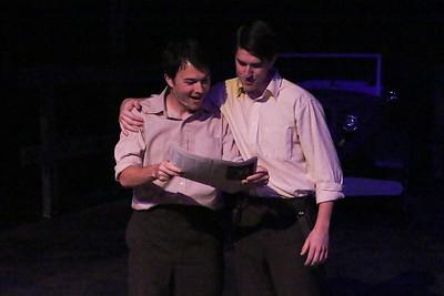 Matt Pentecost and Brendan Ochs as Clyde and Buck Barrow, in New Line Theatre's BONNIE & CLYDE, 2014. Photo credit: Jill Ritter Lindberg.