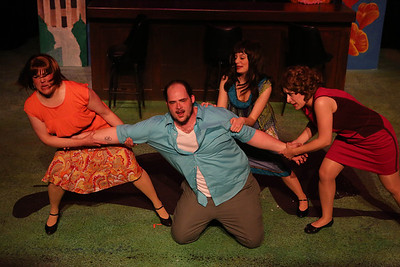 """Kimi Short as One True Love, Zachary Allen Farmer as Charles Bukowski, Chrissy Young as Frances, and Marcy Wiegert as Bukowski's first publisher, singing """"Love is a Dog from Hell"""" (with Joel Hackbarth in back as the narrator), in New Line Theatre's """"Bukowsical,"""" 2013. Photo credit: Jill Ritter Lindberg"""