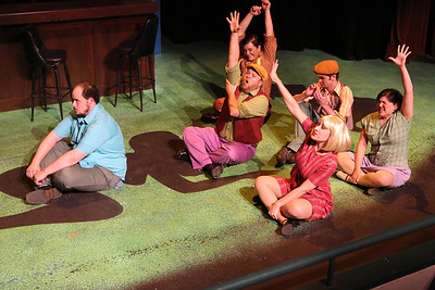 """Zachary Allen Farmer as Charles Bukowski, and the cast singing """"Art is Pain,"""" in New Line Theatre's """"Bukowsical,"""" 2013. Photo credit: Jill Ritter Lindberg."""