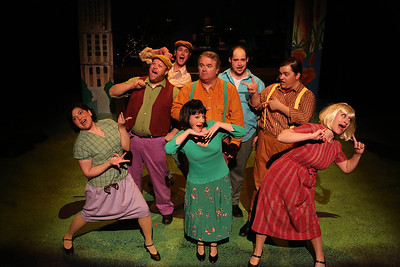"""The full cast singing the title song of New Line Theatre's """"Bukowsical,"""" 2013. Photo credit: Jill Ritter Lindberg."""