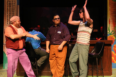 """Nicholas Kelly as French film director Barbet Schroeder, Christopher Strawhun as Sean Penn, and Ryan Foizey as Mickey Rourke, singing, """"Through a Glass, Barfly,"""" in New Line Theatre's """"Bukowsical,"""" 2013. Photo credit: Jill Ritter Lindberg"""