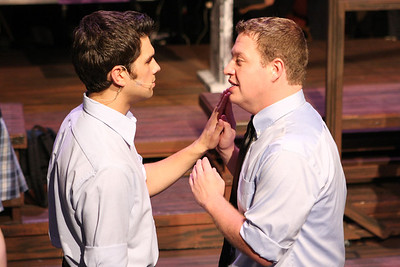 "Jason (Jacob Golliher) and Peter (Mike Dowdy) rehearse a scene from ""Romeo and Juliet,"" in New Line Theatre's ""bare."" Photo credit: Jill Ritter"