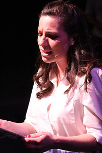 "Ivy (Terrie Carolan) sings ""Portrait of a Girl"" in New Line Theatre's bare. Photo credit: Jill Ritter"