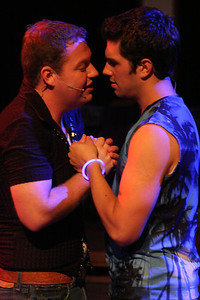 "Peter (Mike Dowdy) and Jason (Jacob Golliher) sing ""Best Kept Secret"" in New Line Theatre's bare. Photo credit: Jill Ritter"