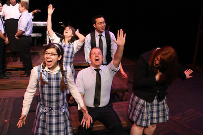 "The cast of New Line Theatre's ""bare,"" singing ""Wedding Bells."" Photo credit: Jill Ritter"
