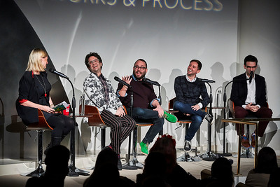 """Jan. 21, 2019 - New York, NY - The Guggenheim Museum's Works and Process series presents Be More Chill Written by Joe Iconis and Joe Tracz, based on the acclaimed 2004 novel by Ned Vizzini, and directed by Stephen Brackett, with choreography by Chase Brock, Be More Chill is a musical about Jeremy Heere, an average teenager. That is, until he finds out about """"The Squip""""—a tiny supercomputer that promises to bring him everything he desires most: a date with Christine, an invite to the raddest party of the year, and a chance to survive life in his suburban New Jersey high school. A truly hilarious, honest, and invigorating look at the lengths one will go to get the girl, set to some of the most vibrant and exciting songs in musical theater today! At Works & Process, the creators will discuss their creative process with moderator Laura Heywood and, in a twist, Dr. Robert Klitzman, Director of the Masters of Bioethics Program at Columbia University, will explore the bioethical implications of the musical. Cast members Stephanie Hsu, Will Roland, and George Salazar will perform highlights prior to the production's Broadway premiere.   Photographer- Robert Altman Post-production- Robert Altman"""