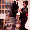 Valere (Ben Nazer) and Mariane (Shinako Wakatsuki) fawn over each other.<br /> <br /> Photo by Suzy Walker