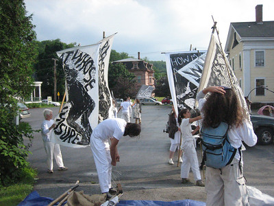 We prepare our anti-war banners and our Sourdough Philosophy flags for the first parade.