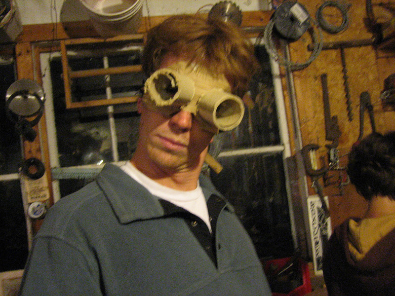 Noah, who is the puppeteer who drove me from Burlington to the farm.  He is modeling some freshly made SWAT team goggles, for a skit about voting machines.