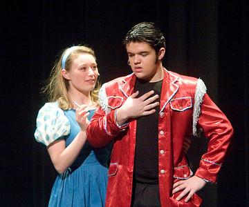 Callie Johnson as Kim MacAfee and Jacob Dander as Conrad Birdie in Bye Bye Birdie at Genoa-Kingston High School on Sunday afternoon.