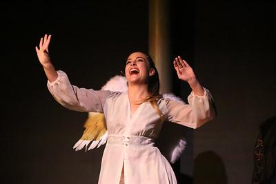 "Larissa White as Angel, singing ""Somebody,"" in CELEBRATION, New Line Theatre, 2016. Photo credit: Jill Ritter Lindberg."