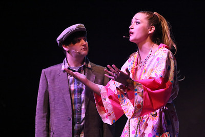 """Orphan (Sean Michael) and Angel (Larissa White) sing """"I'm Glad to See You've Got What You Want"""" in CELEBRATION, New Line Theatre, 2016. Photo credit: Jill Ritter Lindberg."""