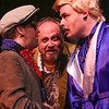 Orphan (Sean Michael, left), Potemkin (Kent Coffel, center), and Mr. Rich (Zachary Allen Farmer, right) come to a confrontation, in CELEBRATION, New Line Theatre, 2016. Photo credit: Jill Ritter Lindberg.