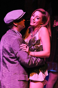 Orphan (Sean Michael) urges Angel (Larissa White) to leave with him, in CELEBRATION, New Line Theatre, 2016. Photo credit: Jill Ritter Lindberg.