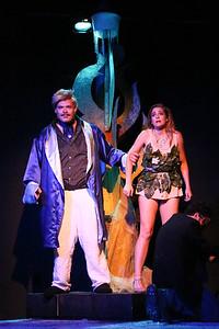 Mr. Rich (Zachary Allen Farmer) takes his prize -- Angel (Larissa White) -- in CELEBRATION, New Line Theatre, 2016. Photo credit: Jill Ritter Lindberg.